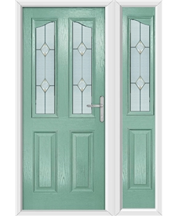 The Birmingham Composite Door in Green (Chartwell) with Classic Glazing and matching Side Panel
