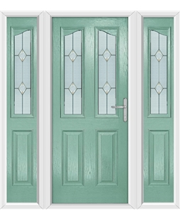 The Birmingham Composite Door in Green (Chartwell) with Classic Glazing and matching Side Panels