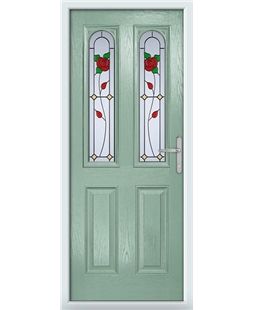 The Aberdeen Composite Door in Green (Chartwell) with English Rose