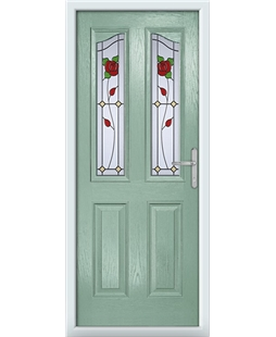 The Birmingham Composite Door in Green (Chartwell) with English Rose