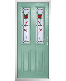 The Cardiff Composite Door in Green (Chartwell) with English Rose