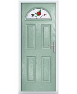 The Derby Composite Door in Green (Chartwell) with English Rose