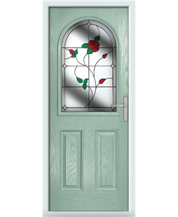 The Edinburgh Composite Door in Green (Chartwell) with English Rose