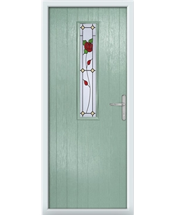 The Sheffield Composite Door in Green (Chartwell) with English Rose