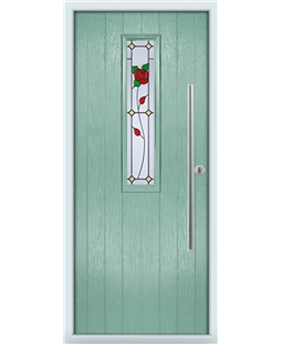 The York Composite Door in Green (Chartwell) with English Rose