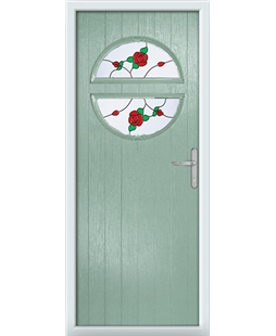 The Queensbury Composite Door in Green (Chartwell) with English Rose
