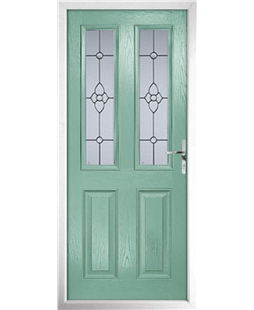 The Cardiff Composite Door in Green (Chartwell) with Finesse Glazing
