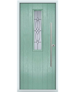 The York Composite Door in Green (Chartwell) with Flair Glazing