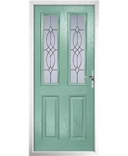 The Cardiff Composite Door in Green (Chartwell) with Flair Glazing