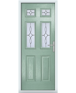 The Oxford Composite Door in Green (Chartwell) with Flair Glazing