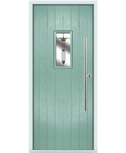 The Zetland Composite Door in Green (Chartwell) with Fleur