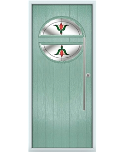 The Xenia Composite Door in Green (Chartwell) with Fleur