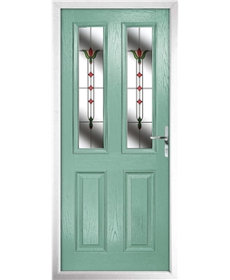 The Cardiff Composite Door in Green (Chartwell) with Fleur