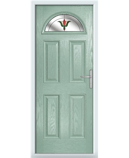 The Derby Composite Door in Green (Chartwell) with Fleur