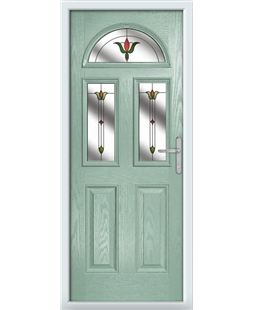 The Glasgow Composite Door in Green (Chartwell) with Fleur