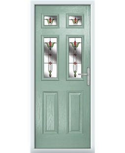 The Oxford Composite Door in Green (Chartwell) with Fleur