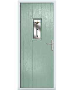 The Taunton Composite Door in Green (Chartwell) with Fleur