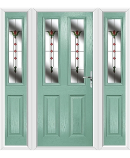The Cardiff Composite Door in Green (Chartwell) with Fleur and matching Side Panels