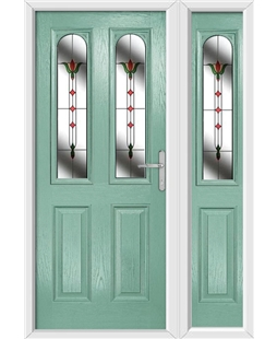The Aberdeen Composite Door in Green (Chartwell) with Fleur and matching Side Panel