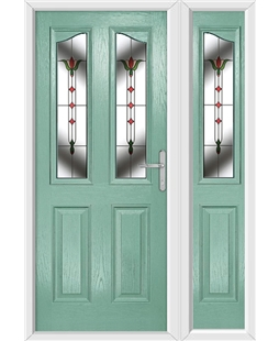 The Birmingham Composite Door in Green (Chartwell) with Fleur and matching Side Panel