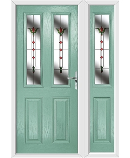 The Cardiff Composite Door in Green (Chartwell) with Fleur and matching Side Panel