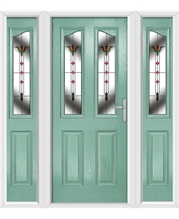 The Birmingham Composite Door in Green (Chartwell) with Fleur and matching Side Panels