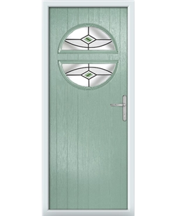 The Queensbury Composite Door in Green (Chartwell) with Green Fusion Ellipse