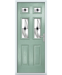 The Oxford Composite Door in Green (Chartwell) with Black Fusion Ellipse