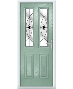 The Cardiff Composite Door in Green (Chartwell) with Black Fusion Ellipse