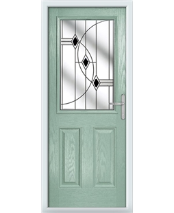The Farnborough Composite Door in Green (Chartwell) with Black Fusion Ellipse