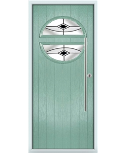 The Xenia Composite Door in Green (Chartwell) with Blue Fusion Ellipse