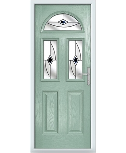 The Glasgow Composite Door in Green (Chartwell) with Black Fusion Ellipse
