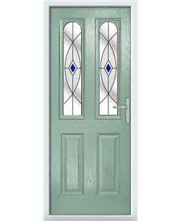 The Aberdeen Composite Door in Green (Chartwell) with Blue Fusion Ellipse