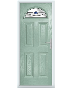 The Derby Composite Door in Green (Chartwell) with Blue Fusion Ellipse