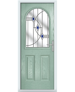 The Edinburgh Composite Door in Green (Chartwell) with Blue Fusion Ellipse