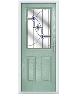 The Farnborough Composite Door in Green (Chartwell) with Blue Fusion Ellipse