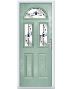 The Glasgow Composite Door in Green (Chartwell) with Blue Fusion Ellipse
