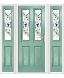 The Cardiff Composite Door in Green (Chartwell) with Blue Fusion Ellipse and matching Side Panels