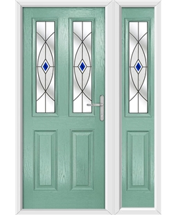 The Cardiff Composite Door in Green (Chartwell) with Blue Fusion Ellipse and matching Side Panel