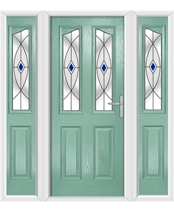 The Birmingham Composite Door in Green (Chartwell) with Blue Fusion Ellipse and matching Side Panels