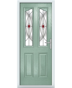 The Birmingham Composite Door in Green (Chartwell) with Red Fusion Ellipse