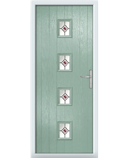 The Uttoxeter Composite Door in Green (Chartwell) with Red Fusion Ellipse