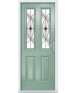 The Cardiff Composite Door in Green (Chartwell) with Red Fusion Ellipse