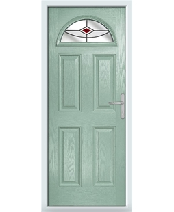 The Derby Composite Door in Green (Chartwell) with Red Fusion Ellipse