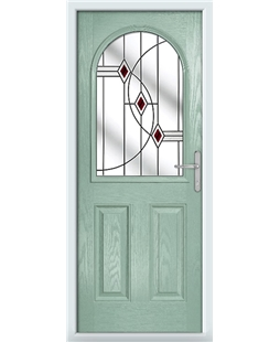 The Edinburgh Composite Door in Green (Chartwell) with Red Fusion Ellipse