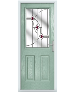 The Farnborough Composite Door in Green (Chartwell) with Red Fusion Ellipse
