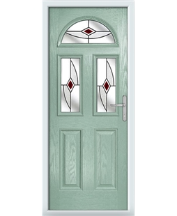 The Glasgow Composite Door in Green (Chartwell) with Red Fusion Ellipse