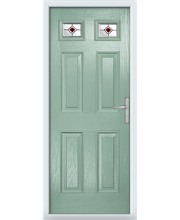 The Ipswich Composite Door in Green (Chartwell) with Red Fusion Ellipse