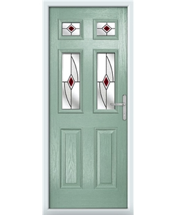 The Oxford Composite Door in Green (Chartwell) with Red Fusion Ellipse