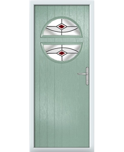 The Queensbury Composite Door in Green (Chartwell) with Red Fusion Ellipse